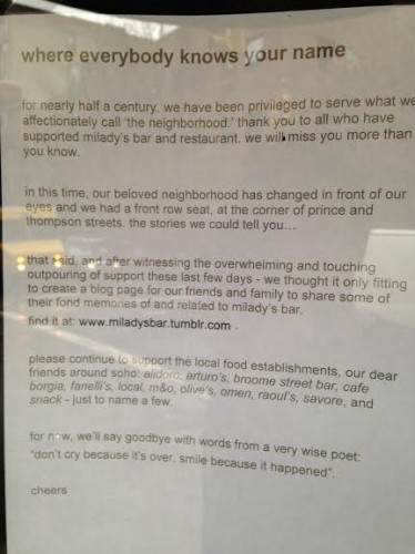 Milady's Note On Bar Door