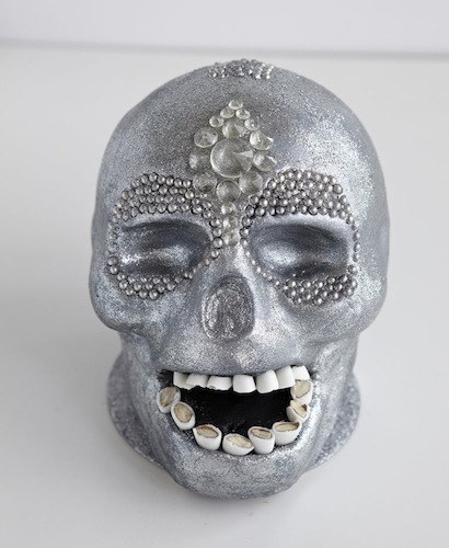 Edible glitter embellished skull with sugar-coated almond teeth Inspired by Damien Hirst's For the Love of God