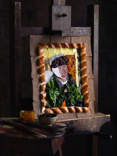 A recreation of Van Gogh's Self-Portrait With Bandaged Ear, made with the ingredients needed for a classic British ploughman's sandwich.