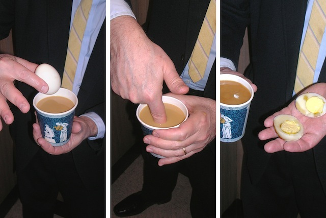 """A quick tip for your elevator ride up to the office: grab a piping hot cuppa joe at the corner store and stick an egg in it to make a hard boiled morning snack."""