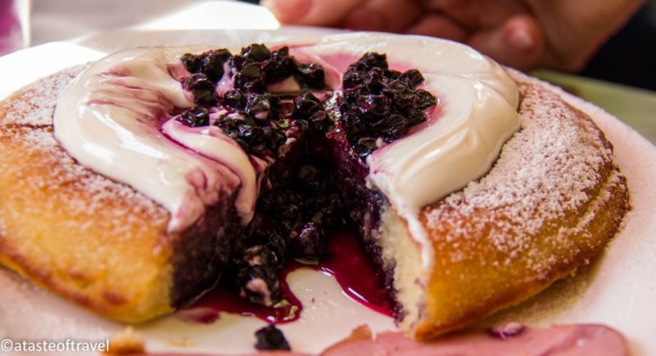 Dutch-style pancakes with sour cream and blueberries at Prune (Photo: A Taste of Travel)
