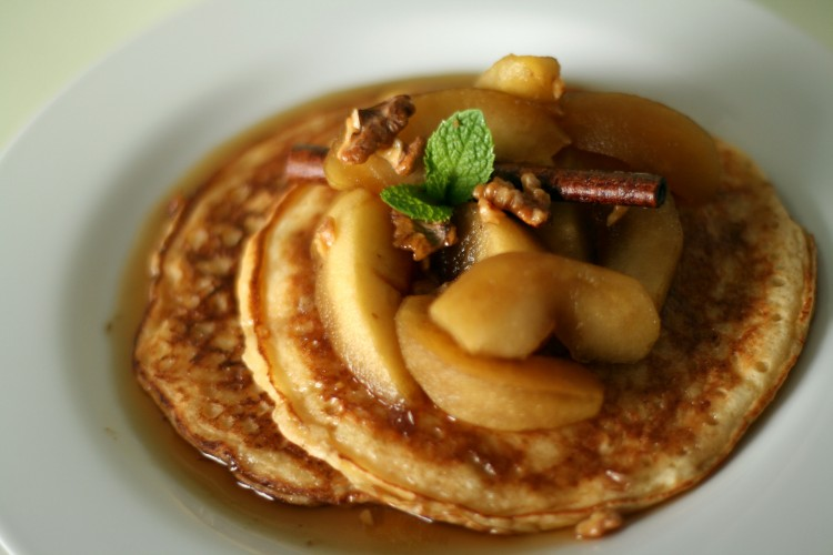 Ricotta Pancakes with Apple Calvados Syrup recipe from Food52 (Photo: Food 52)