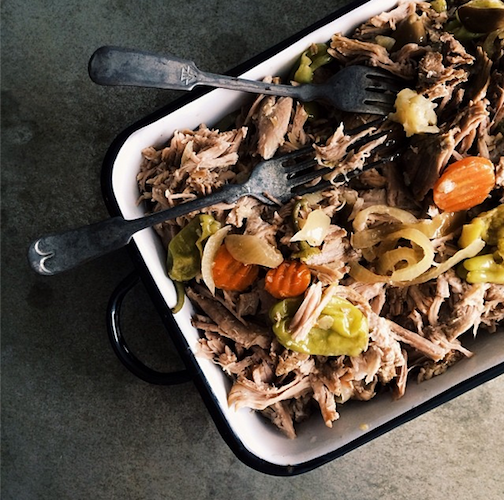 Slow cooker pickled pulled pork is the perfect solution to cold winter nights. Photo: @spoonforkbacon