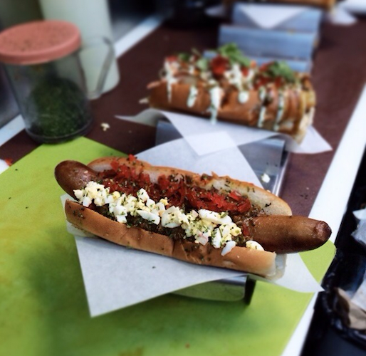 Behold, Tokyo Doggie Style's out-of-this-world Hurry Curry Chili Dog. Photo: @behindfoodcarts