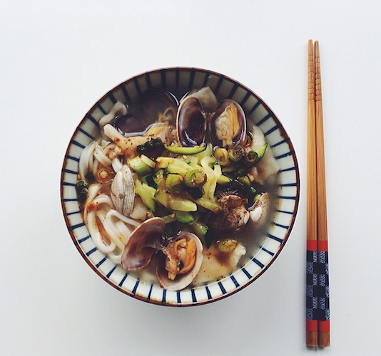 Hana, the co-founder of Pantry Confidential and blogger behind Style Fare, shows off Korean kalguksu and homemade sujebi in clam broth. Photo: @stylefare