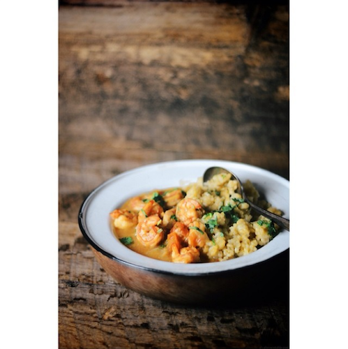 Nik Sharma's stunning take on New Orleans shrimp étouffée.  Photo: @abrowntable
