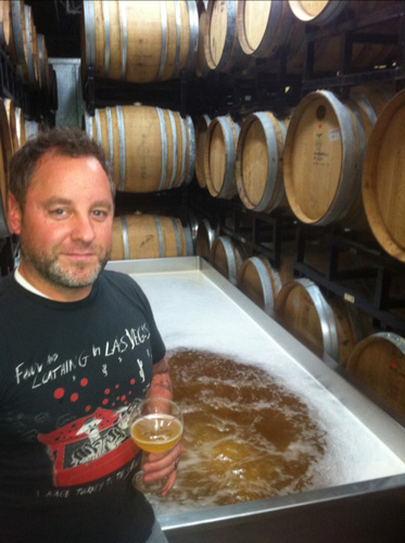 Gabe Fletcher of Anchorage Brewing Co. with his coolship (Photo: