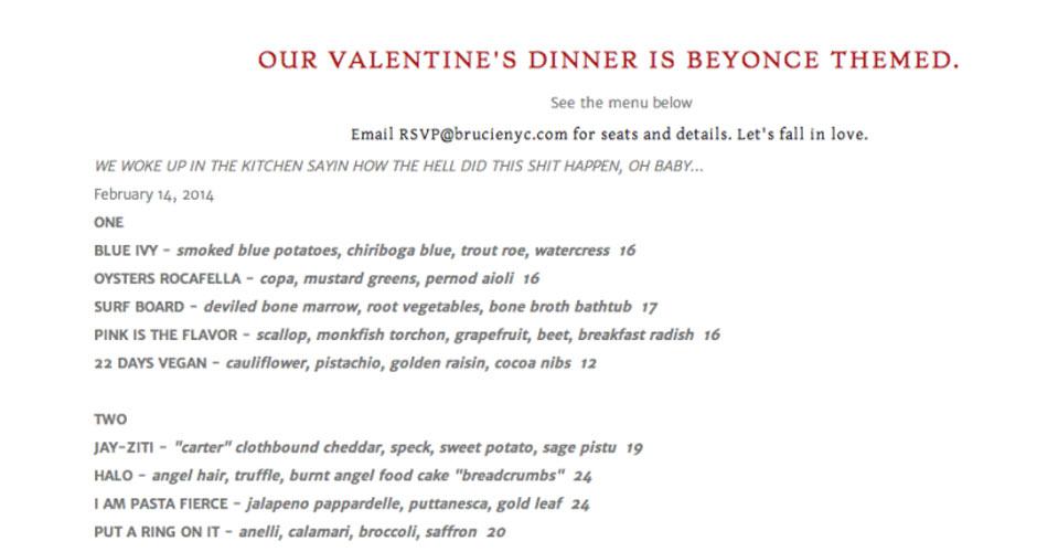 beyonce-menu