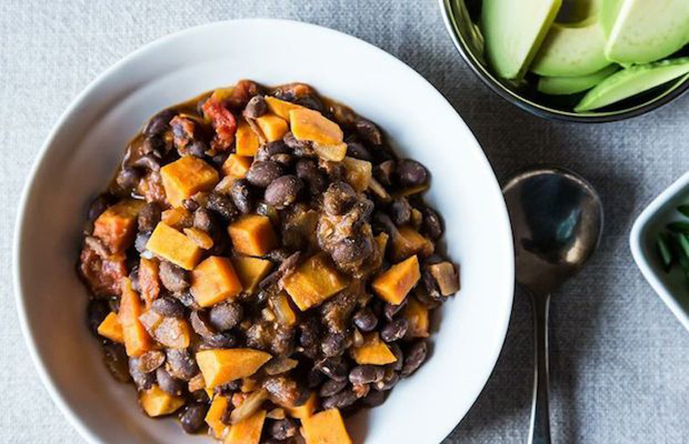 Smoky Black Bean and Sweet Potato Chili. This sweet, smoky, and flavorful chili recipe will change the way you think about chili. Tender sweet potatoes and hearty black beans pair perfectly, and paprika and chili powder keep it interesting.