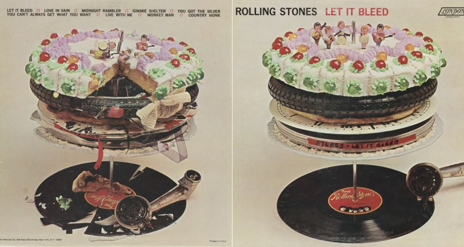 """Artist: The Rolling Stones Album title: Let It Bleed (1969)Buy it here: According to MoMA, """"Robert Brownjohn was hired by his close pal Keith Richards to design the cover, and he in turn hired Delia Smith—the same Delia Smith who would go on to become a well-known British cookbook writer and television celebrity—to bake the cake. As quoted in bassist Bill Wyman's memoir, Rolling with the Stones, Smith recalled, 'I was working then as a jobbing home economist with a food photographer who shot for commercials and magazines. I'd cook anything they needed. One day they said they wanted a cake for a Rolling Stones record cover, it was just another job at the time. They wanted it to be very over-the-top and as gaudy as I could make it.'"""""""