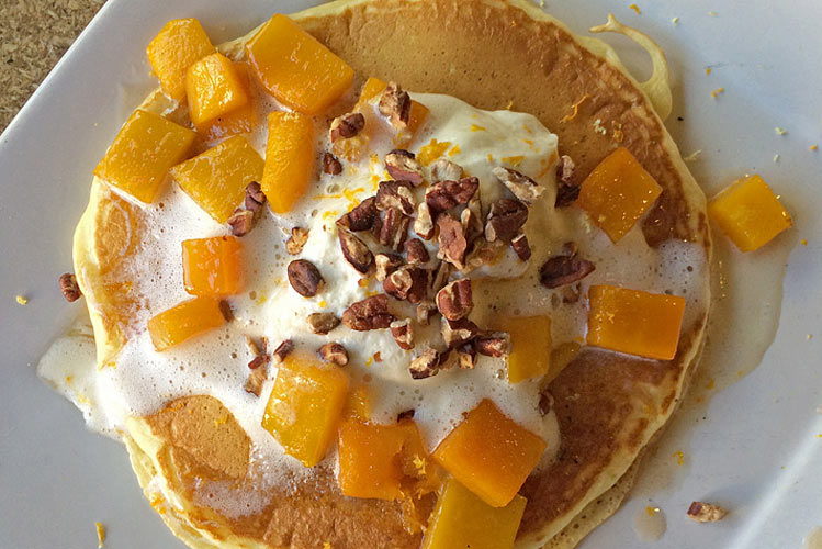 Pancakes with butternut squash and crushed pecans at Square One Dining (Photo:
