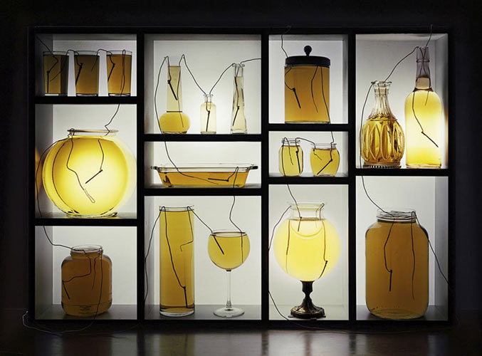 Vinegar Batteries with Glassware and Shelf 2013