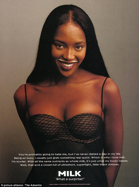 Naomi Campbell was the first of many celebrities to feature in the Got Milk? campaign in 1994.