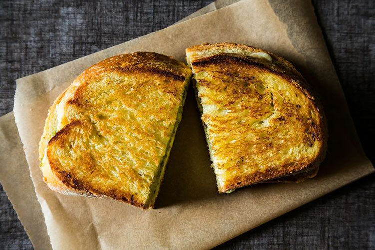 Grilled Aged Cheddar Cheese Sandwich with Pistachio Sage Pesto. Sharp aged cheddar is the perfect contrast to a bright, creative take on pesto.