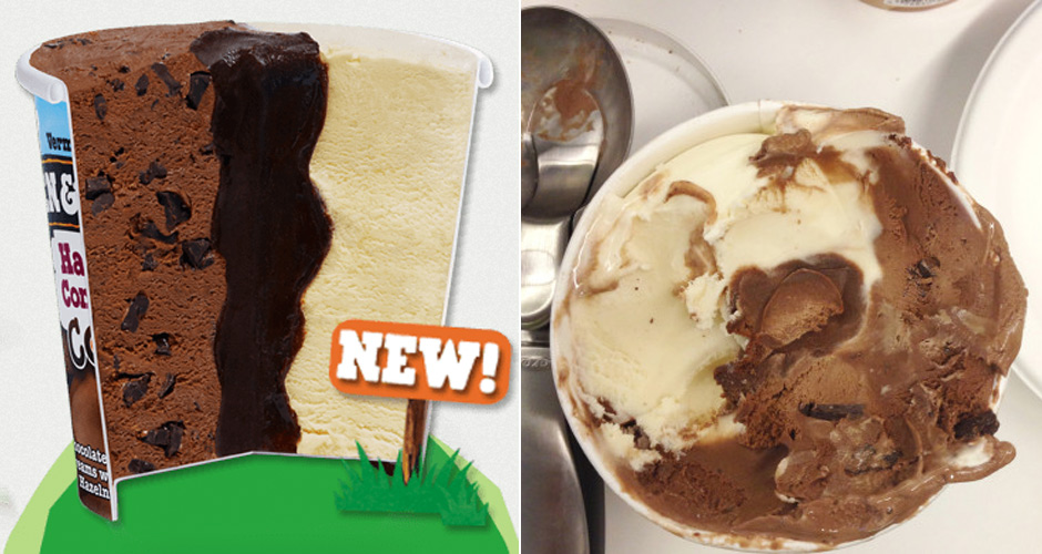 Advertisement pictured on the left, Ben & Jerry's Cores IRL pictured on the right. (Photo: Huffington Post)