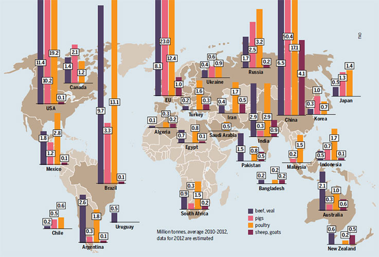 Worldwide meat production. (Photo: