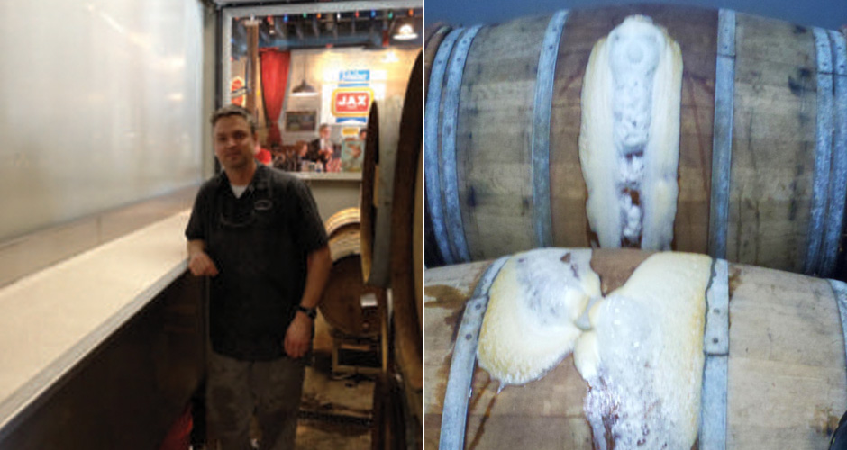 Left to right: Brewer Vinnie Cilurzo, spontaneously fermenting barrels (photos: