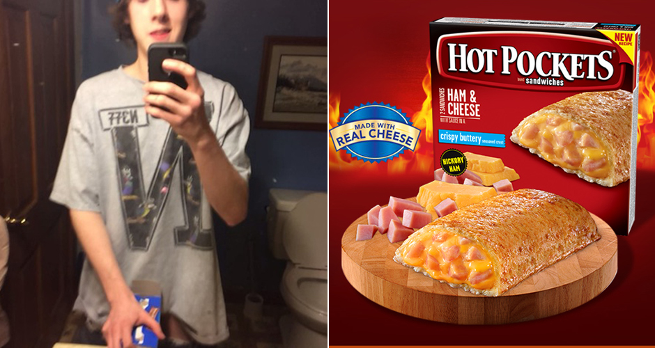 One man, two snacks. (Photos: Vine, Hot Pockets)