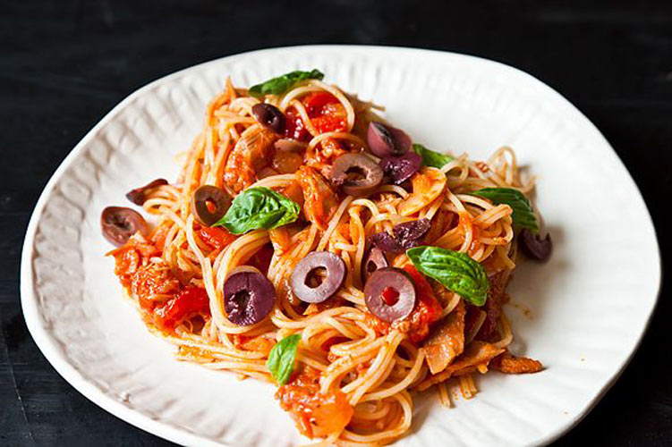 Barca Tuna Sauce. This is a quick, smart, and surprisingly complex Spanish pantry sauce that would do any pound of pasta very proud. It's spicy and rich and the bacon and tomato combo is, as you would expect, delectable.