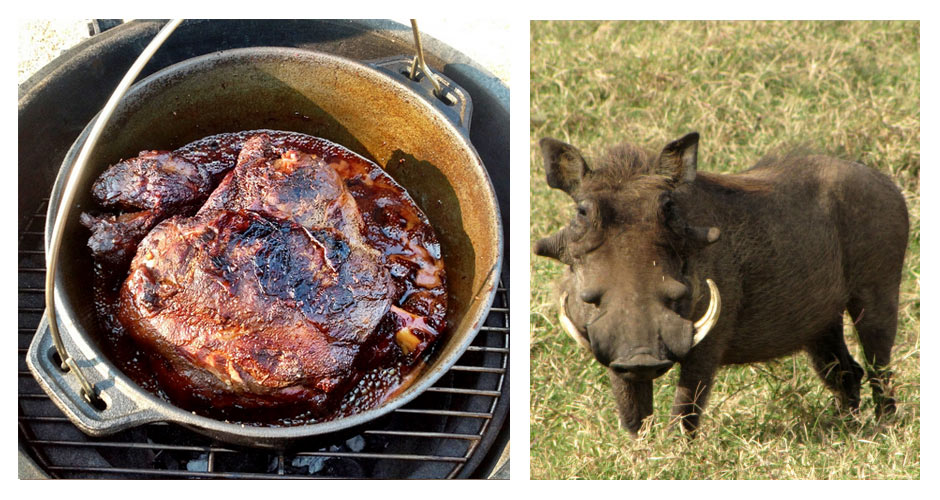 WARTHOGCulinary uses: These rough-looking hogs are traditionally served roasted.Commonly used in: South African cuisine(Photos: Pink Poppadom, Wikipedia)