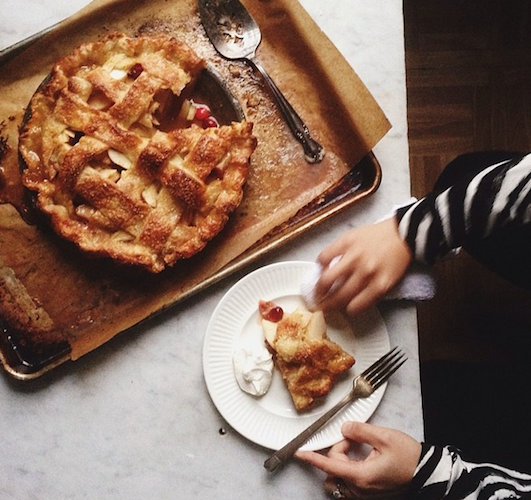 The women from Pantry Confidential fittingly celebrated Pi Day with a slice of apple and cherry pie. Photo: @pantryconf