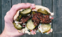 Patrick Janelle studs Taïm's classic falafel sandwich with sweet pickle chips from @gordyspicklejar. Photo: @aguynamedpatrick