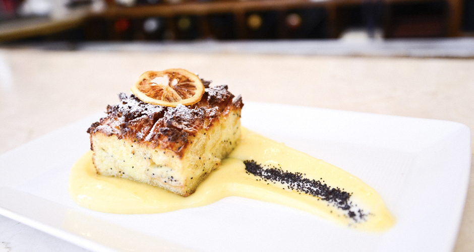Poppyseed bread and butter pudding at Annisa. Photo: Liz Barclay