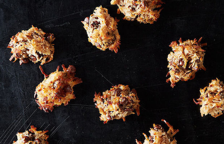 Chocolate Balsamic Macaroons. Each bite is a happy marriage of textures and flavors: spikes of crunchy and toasted coconut blanket a chewy core generously studded with semi-sweet chocolate and an unexpected hint of balsamic vinegar.