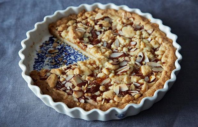 Cindy Mushet's Italian Jam Shortbread Tart (Fregolotta). The dough is one simple shortbread that you use for both the crust and the topping. You can make the entire thing in about an hour, including clean-up, and yet somehow it comes out looking like a Byzantine mosaic.