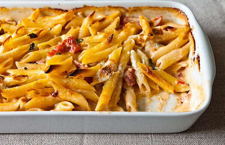 Al Forno's Penne with Tomato, Cream, and Five Cheeses. This recipe is endlessly adaptable—use whatever forgotten nubs of cheese you have and whatever seasonal add-ins you desire. No matter what, you'll end up with a gooey, creamy, unforgettable dish.