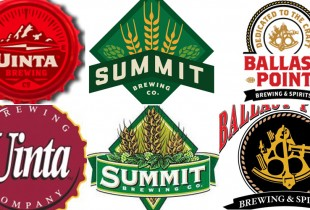 Top line: New logos from Uinta, Summit, and Ballast Point