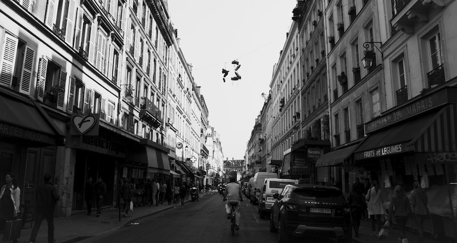 Shoes thrown over power lines isn't very common in Paris, but you can spot a handful of them throughout the city.