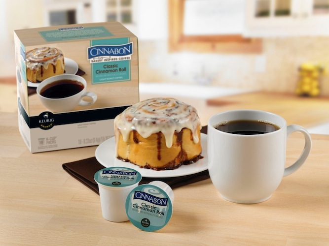 Cinnabon Keurig K-Cups. No time to head to Cinnabon for your AM sugar fix? Keurig's got you covered with its Cinnabon-flavored K-Cups. These ridiculous single-serving coffee pods allow you to simultaneously sip on your coffee while enjoying the taste of a frosted pastry. (Photo: Business Wire)