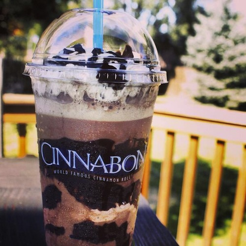 """Mocha Chillatta.  Cinnabon  has """"combined coffee, chocolate, and ice so you can drink your cares away with this dose of deliciousness."""" Because drinking more than your suggested daily intake of fat and sugar will absolutely push your cares away. (Photo: Cinnabon)"""