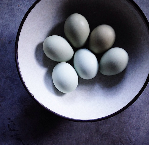 Linda from The Tart Tart captures the most beautiful bowl of blue eggs. Photo: @lindaspeakeasy