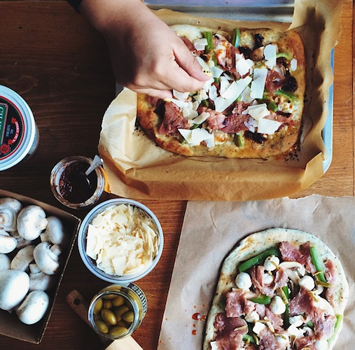 A homemade spring-inspired pizza in the making. Photo: @caye_nano