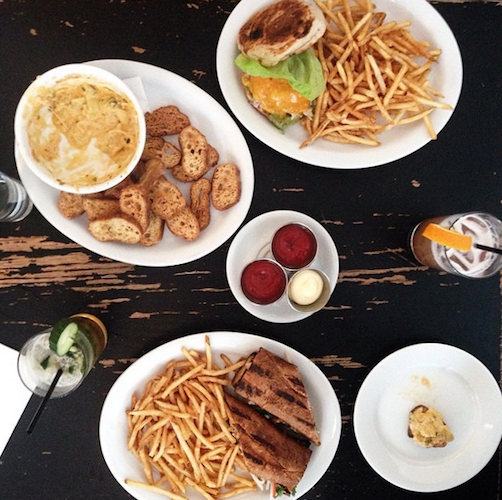 This lunch spread at Walter's in Brooklyn features lots of cheese and Pimm's cups. Photo: @rebekahpeppler