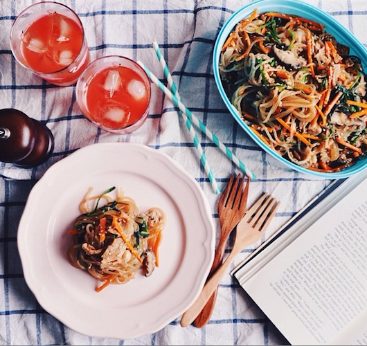 A colorful plate of Korean japchae, a stir-fry with sweet potato noodles. Photo: @thecookismproject