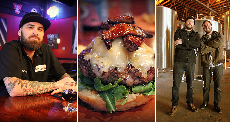 "Pictured: Richard Miley of Catch-22; the ""$22 Burger"" at Catch-22; Creature Comforts owners Adam Beauchamp and David Stein"