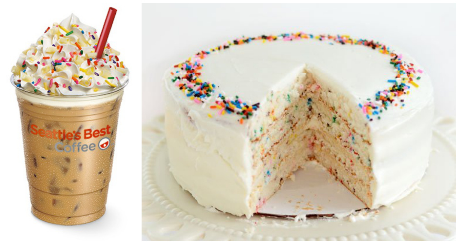 """Iced Birthday Cake Latte. Seattle's Best wants you to """"let your inner child loose and celebrate your birthday every day"""" with its Iced Birthday Cake Latte. This sugary beast is a petrifying concoction of coffee topped with vanilla-flavored whipped cream, white chocolate shavings, and colorful sprinkles. Basically, it's a cake in a cup that doesn't even come with a candle. (Photo: Seattle's Best, The Kitchn)"""
