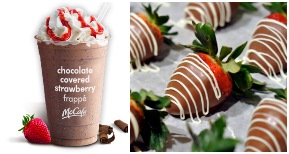 """Chocolate-covered Strawberry Frappe. McDonald's has also felt the need to turn desserts into drinks, buzzing up a mocha base with strawberry-flavored syrup, chocolate chips, whipped cream, and a drizzle of strawberry syrup that has a very unappetizing red hue. We believe McDonald's when it says that conquering the drink is like """"completing a strawberry, chocolate, and whipped cream triathlon of indulgence."""" We also believe that it could take a triathlon or two to burn off those calories. (Photos: McDonalds,  The Dessert Spot)"""