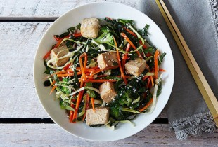 Citrus Ginger Tofu Salad with Buckwheat Soba Noodles. Marinate your tofu, bake it, then toss it with soba noodles, cabbage, kale, carrots, broccoli, and a soy-citrus dressing. It makes a salad that is surprisingly filling.
