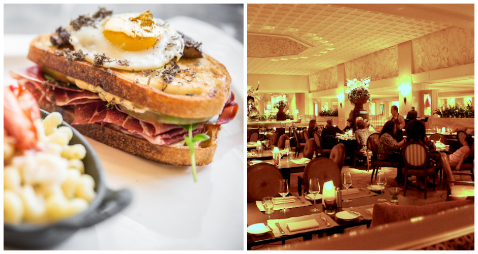 Left, the Zillion Dollar Grilled Cheese. Right, Chicago's Deca Restaurant + Bar. (Photos: DNAInfo, Haute Living)