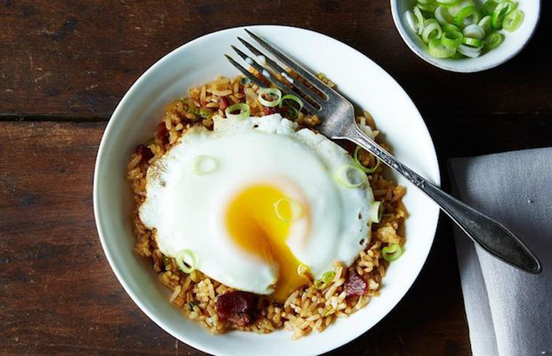 Breakfast Fried Rice. Fry up some bacon, then some scallions and rice—top it all with an egg. This is a warm, filling breakfast we can actually see ourselves making before we dash out the door for work—it's fast, without a ton of prep, and it's everything we want, exactly when we want it. Because why should you have to wait until dinner for fried rice?
