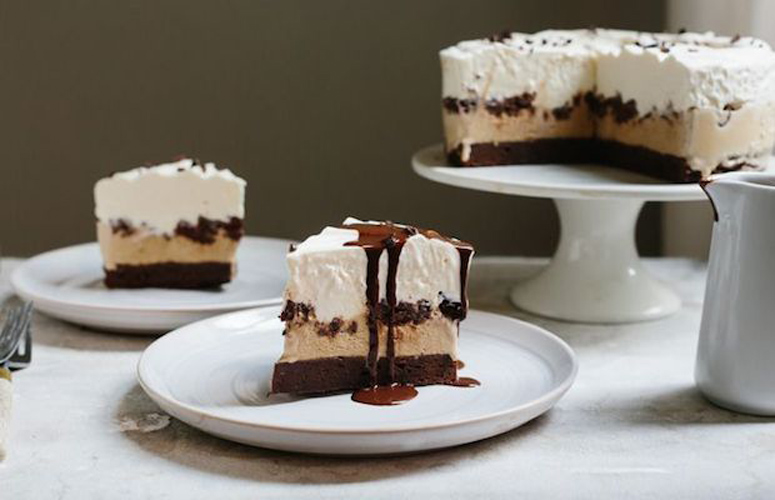 Chocolate Coffee Ice Cream Cake. You can't get much better than this cake—chewy brownies are topped with coffee ice cream and a billowy layer of no-churn, sweet cream ice cream.