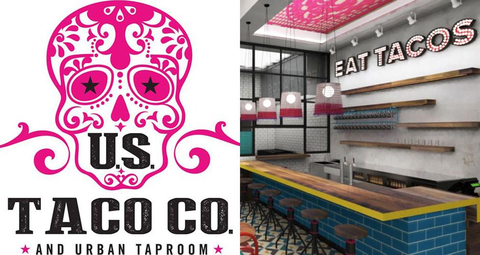 U.S. Taco Co. logo (Left); U.S. Taco Co. interior rendering (Right). (Photo: Taco Bell via