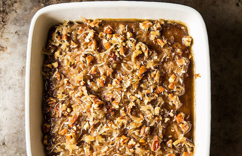 Maple Oatmeal Princess Coffee Cake. This is a moist, tender, decadent coffee cake with a gooey, addictive coconut pecan topping.