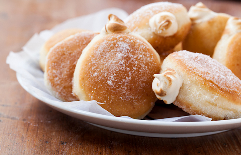 Maple Meringue-Filled Doughnuts These doughnuts need a little bit of time, but are pretty foolproof. They puff up beautifully, and then get filled with a creamy and subtly sweet maple meringue.