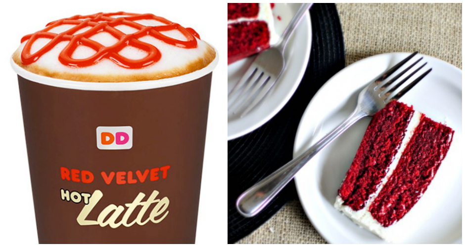 Red Velvet Latte. Red velvet is essentially buttermilk cake with cocoa powder and food coloring. Think of that mixture in your coffee. We wish Dunkin' thought about it too before unleashing their Red Velvet Latte. The coffee take on the classic cake is essentially a regular mocha with an unappetizing reddish-brown hue—plus a topping of whipped cream cheese.  (Photo: Serious Eats, Simply Scratch)