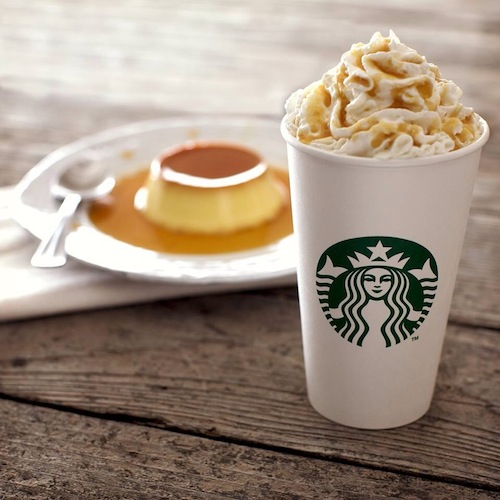 Caramel Flan Latte. Starbuck's Caramel Flan Latte was the company's first new drink of 2014. It features a mixture of espresso, steamed milk, and caramel flan-flavored syrup. It's topped with whipped cream and a caramel flan drizzle. The drink was tested early last year in select locations across the U.S., so apparently people are into coffee flavored with sweet egg custard and a boatload of caramel. (Photo: To Infinity and Beyonce)